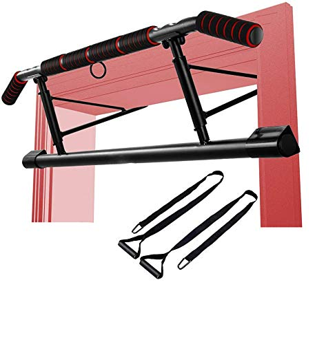 Pull Up Bar for Doorway, Upper Body Home Gym Workout Station, Portable Calisthenics Exercise Equipment, Chin Up Bar, No Screw, No Installation, TRX Resistance Straps and Angled Grip, Fits Most Doors