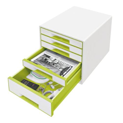 Leitz 52141064 - Cajonera (5 cajones, 4 grandes y 1 pequeño, 36,3 x 28,7 x 27 cm), color blanco y verde