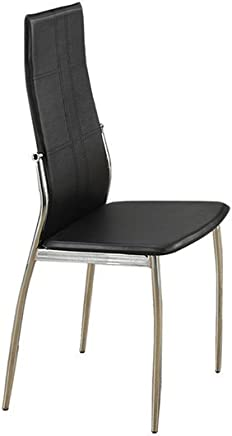 Poundex 2 Piece PU Contemporary Faux Leather Dining Chair Set with Silver Leg Support,  Black