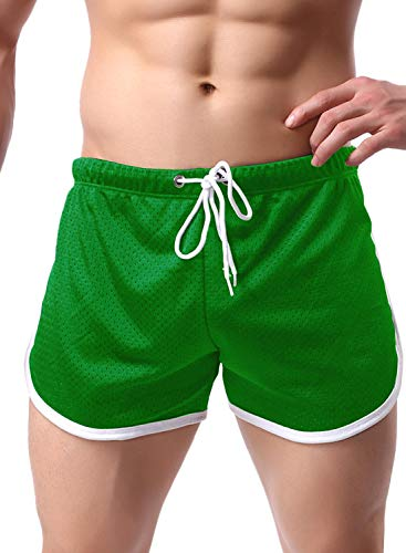 Ouber Men's Fitted Shorts Bodybuilding Workout Gym Running Tight Lifting Shorts (XL, Green)