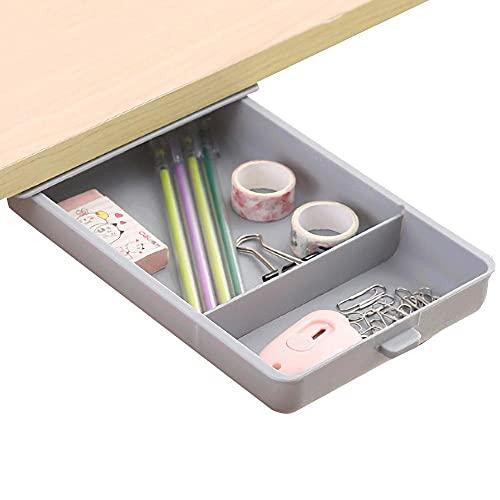 Cajon Autoadhesivo Gris Cajones Adesivos Para Escritorio - 22x15.5x3.5cm - Bandeja Debajo Escritorio para Oficina / Dormitorio / Aula / Cocina