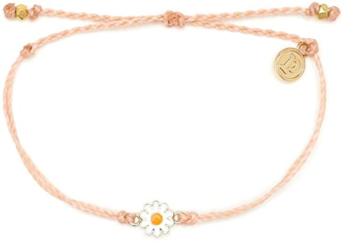 Pura Vida Gold or Silver Daisy Bracelet - Waterproof, Artisan Handmade, Adjustable, Threaded, Fashion Jewelry for Gir...