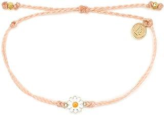 Pura Vida Gold or Silver Daisy Bracelet - Waterproof, Artisan Handmade, Adjustable, Threaded, Fashion Jewelry for Girls/Women