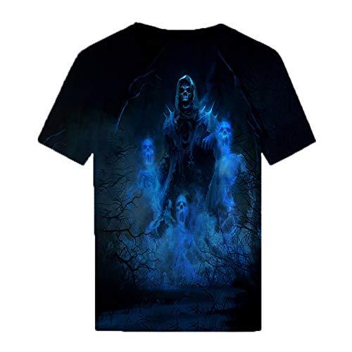 Camisetas con Estampado de Calavera 3D a la Moda de Verano para Hombre, Camisetas con Cuello Redondo, Manga Corta, Camisetas Casuales de Gran tamaño Azul 6XL