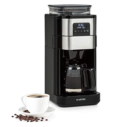 Klarstein Aromatica Taste 6 Kaffeemaschine, integriertes Mahlwerk, 70 g Bohnenbehälter, 2 / 4 / 6 Tassen, 680 Watt, 750 ml Glaskanne, Kaffeestärke: mild / stark, Kegelmahlwerk, schwarz