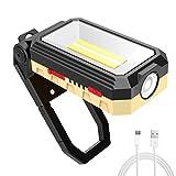 LED Arbeitsleuchte, T-SUN Werkstattlampe Akku Baustrahler COB Arbeitsstrahler Arbeitslampe mit eingebauter 4800mAh Akku, USB, 4 Lichtmodi für Autoreparatur Camping Notfall Haushalt