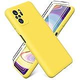 Ikziwreo - Funda para Xiaomi Redmi Note 10 4G/ Note 10S + [2 Pack] Protector Pantalla, Carcasa de Silicona Líquida Gel Ultra Suave Funda con tapete de Microfibra Anti-Rasguño - Amarillo