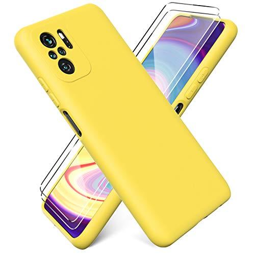 Ikziwreo - Cover per Xiaomi Redmi Note 10 4G/ Note 10S + [2 Pack] Pellicola Protettiva in Vetro Temperato, Custodia Liquid Silicone TPU Cover Ultra-Sottile AntiGraffio Antiurto Case - Giallo