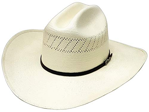 Modestone Straw Bangora Metal Concho Hatband Chapeaux Cowboy 57 White