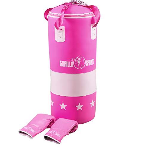 GORILLA SPORTS® Boxsack-Set Kunstleder Pink – Boxhandschuhe, Sandsack 16 kg gefüllt zur Aufhängung und Karabiner
