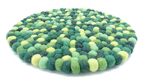 feelz Filzuntersetzer rund 22cm grün Handarbeit Topfuntersetzer bunt Bunte Filzkugel Untersetzer aus Filz