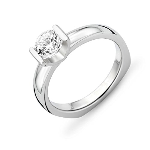 MIORE Ladies 925 Sterling Silver Zirconia Solitaire Engagement Ring - Size L