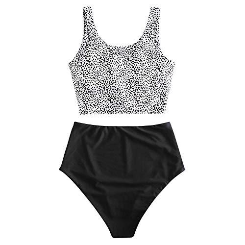 ZAFUL Zweiteiliger verknotet Tankini Beachwear Set, einfarbiger gepolsterter Badeanzug mit Schulterträger & Badehose mit Tropisches Blattmuster für Damen (Punktmuster in Schwarz, S)