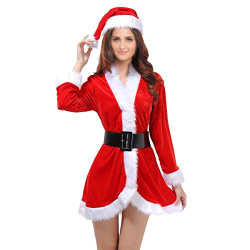 OULII Santa Claus Costume Womens Santa Suit Christmas Fancy Dress Costume with Dress Belt and Hat One Size - 3 Pieces Red