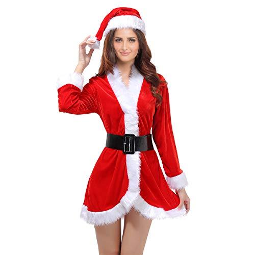 OULII 3Pcs Womens Weihnachtsmann-Weihnachtskostüm Cosplay Xmas Outfit-Abendkleid-reizvolles Set (freie Größe)