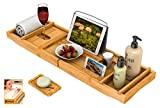 Bath Caddy Tray for Bathtub - Bamboo Adjustable Organizer Tray for Bathroom with Free Soap Dish Suitable for Luxury Spa...