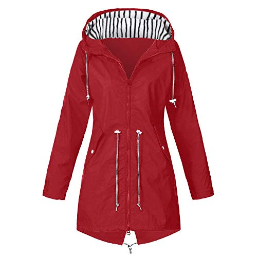 Pianshanzi Chaqueta de entretiempo para mujer, chaqueta softshell, impermeable, transpirable, larga, para mujer, con capucha, cremallera impermeable, longitud media, cortavientos, impermeable, rojo, L