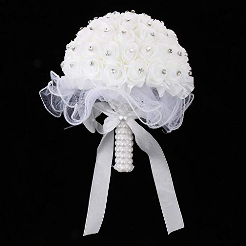Torasdon - Party DIY Decorations - Wedding Bridal Bouquet Artificial Foam Rose Flower Crystals Hand Holding Church - Decorations Party Party Decorations Bridal Rose Bouquet Wedding Crystal Pear