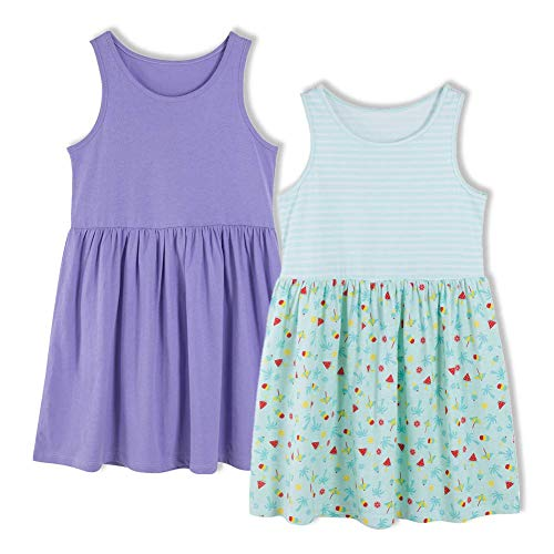 UNACOO Kids 2-Pack Sleeveless Casual Summer Dress for Girls (Age 3-12 Years) (Purple+Green Stripes, XS(3-4T))