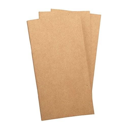 (3er Set) Blanko-Reisebucheinlagen 100gsm Insgesamt 192 dicke ungefütterte Skizzenseiten, Standardgröße 11x21cm