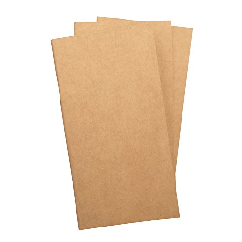 (Set of 3) Blank Travelers Notebook Inserts 100gsm Total 192 Thick Unlined Sketch Pages, Standard Size 4.25'x8.25'