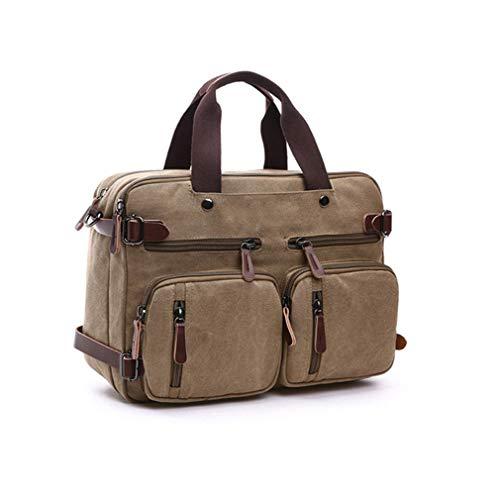 Men Canvas Bag Leather Briefcase Travel Suitcase Messenger Shoulder Tote Back Handbag Large Casual Business Khaki