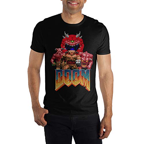 Doom Characters and Logo Retro Video Game Men's T-Shirt