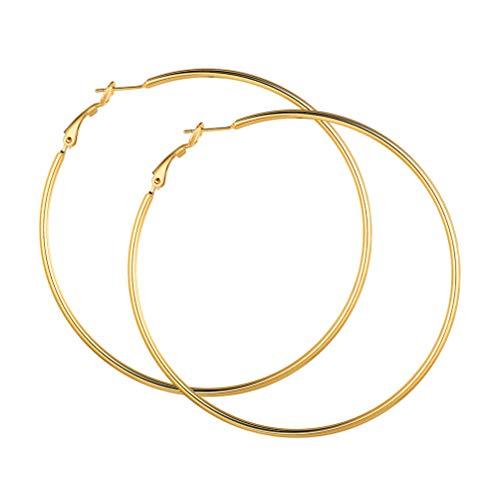 PROSTEEL Damen 18k vergoldet Creolen 70mm Groß Ring Kreis Ohrringe Simpel Stil Huggie Hoop Klappcreolen Ohrschmuck Accessoire perfektest Geschenk für Frauen Mädchen