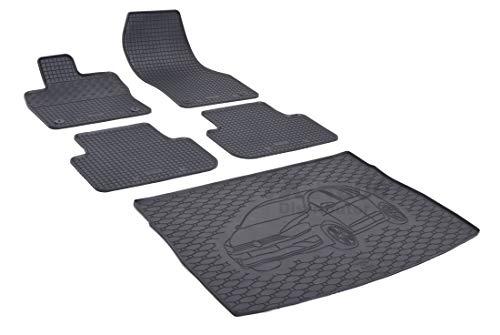 Rigum Passende Gummimatten und Kofferraumwanne Set geeignet für VW Golf VII Sportsvan ab 2014 + Gurtschoner