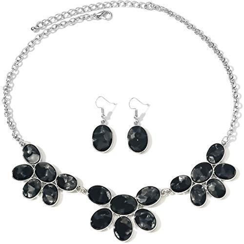 FSMILING - Collana con orecchini a bavaglino in acetato con motivo tartaruga e Ottone, colore: Set di gioielli in resina nera., cod. DF-220-Black