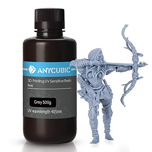 ANYCUBIC 3D Printer UV Resin 405nm Rapid Photopolymer for Photon/S Liquid 3D Resin Universal High Precision for LCD/DLP/SLA 3D Printers, 500ml Grey
