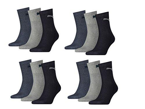 PUMA Herren Short Crew Socks Frotteesohle 12er Pack Sportsocken (Navy/Grey Nightshadow, 43-46)