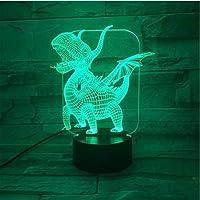 3D LED錯視ランプ フェスティバルプレゼントワンピースウエスタンドラゴン翼竜ナイトライトとカラフルなタッチセンサー子寝室ランプ