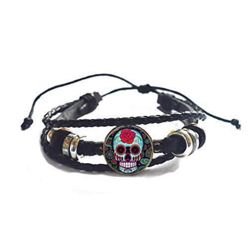 Pulsera de cráneo de azúcar, pulsera simple, joyería de Halloween, brazalete de encanto, joyería cotidiana, PU014
