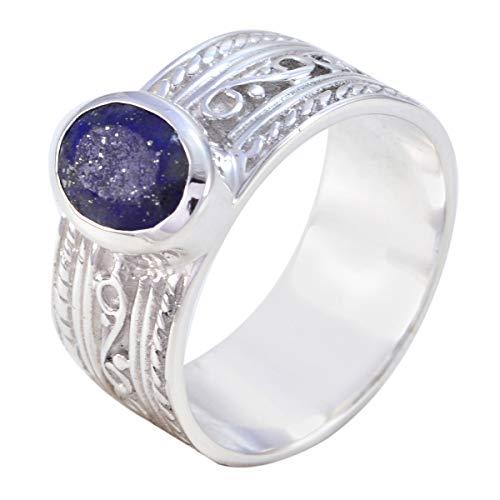 joyas plata echte edelsteine ovale form ein stein facettierte lapislazuli ringe - 925 silber blauer lapislazuli ring - oktober geburt waage astrologie echte edelsteine ring