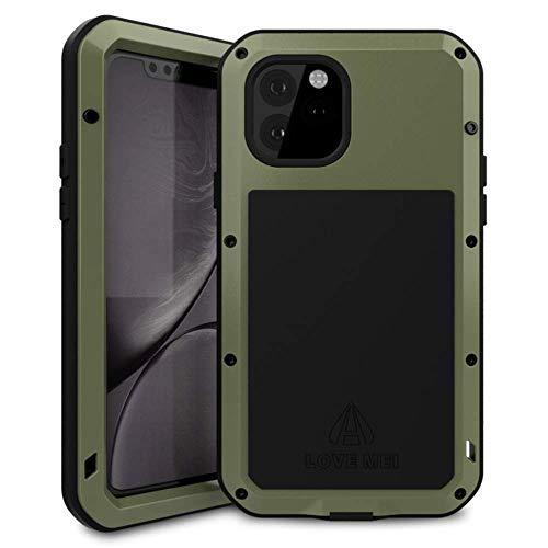 Bpowe 2019 Schutzhülle für iPhone 11 Pro 5,8 Zoll (12,7 cm), Silikon, Aluminium, Metall, Gorilla-Glas, Panzer-Tank, grün