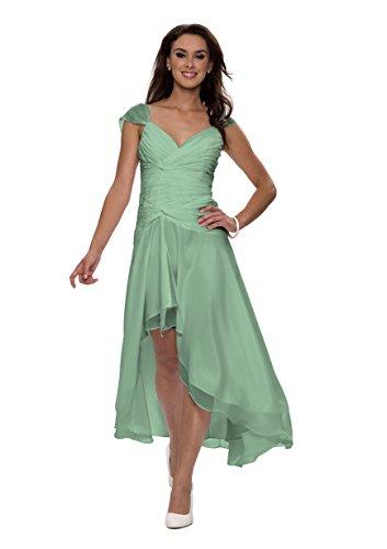 Astrapahl Damen Cocktail Kleid mit schönen Raffungen, Knielang, Einfarbig, Gr. 40, Grün (Seegrün)