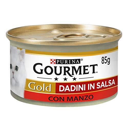 Purina Gourmet Gold Umido Gatto Dadini in Salsa con Manzo, 24 Lattine da 85 g Ciascuna, Confezione da 24 x 85 g