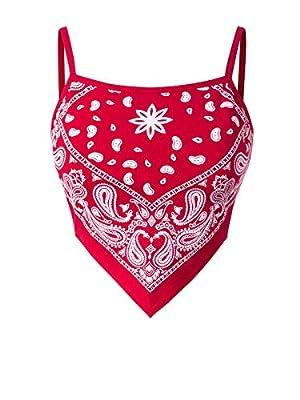 Design by Olivia Women's Plain Stretchy Asymmetric Tie Knob Open Back Bandana Crop Top Shirt- Made in USA Red Print M