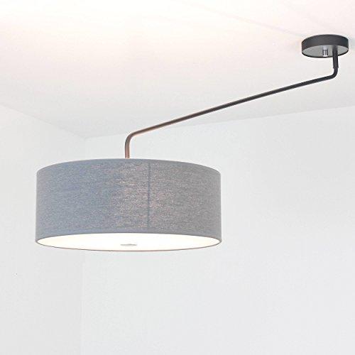 XXL Deckenleuchte Wohnzimmer grau 3-flammig Deckenlampe mit Stoffschirm verstellbare Leuchte Lampe Wohnzimmer schwenkbar Schlafzimmer Beleuchtung