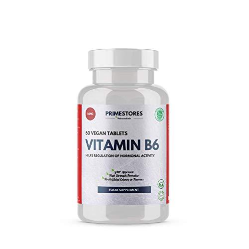 Vitamin B6 Brain Food Supplement 50mg - 60 Vegan Energy Tablets - High Strength Memory Function B Vitamins Supplements by Primestores