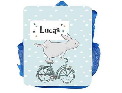 wolga-kreativ Kleiner Rucksack Kindergartentasche Mädchen Jungen Hase Fahrrad Kinderrucksack Kindergartenrucksack Jungs Kinder mit Namen Tagesrucksack Kindergarten Kindertasche