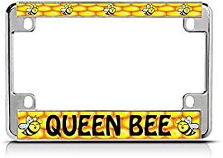 QUEEN BEE Chrome License Plate Frame Tag Border