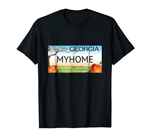 Georgia State License Plate Myhome T-Shirt Men Women Youth