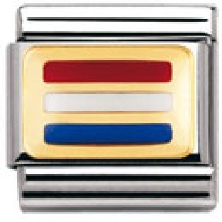Nomination Composable Classic Flagge Europa Edelstahl, Email und 18K-Gold (Holland) 030234