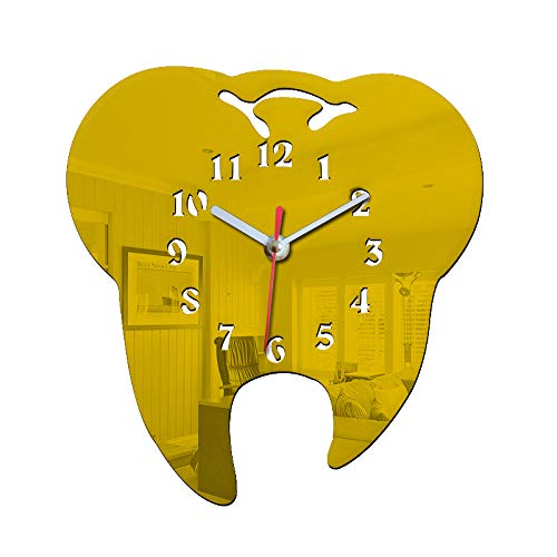 Easyinsmile Unique Tooth Wall Clock Silent Dentist Decoration Mirror Decorative Clinic Ornament Dental Surgeon Gift Battery Powered (Gold)