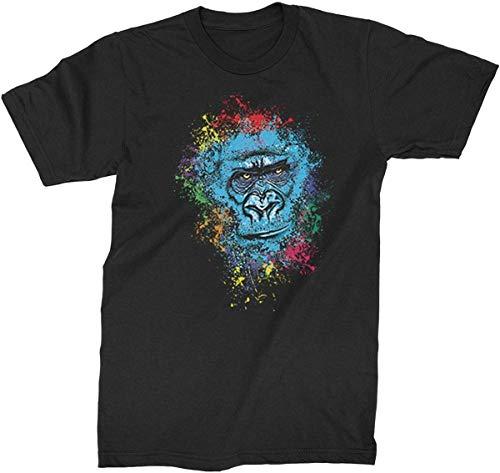 Divertido gráfico de verano Gorilla pintura de cara salpicada para hombre arte fantasía camiseta de moda elegante camisa Negro Negro ( XXXXXL