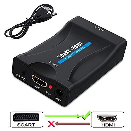 Scart auf HDMI, Scart auf HDMI Konverter Video Audio Wandler 1080P HD Adapter 60Hz HD mit USB Ladekabel für HDTV STB Xbox PS3 Sky DVD Blu-ray