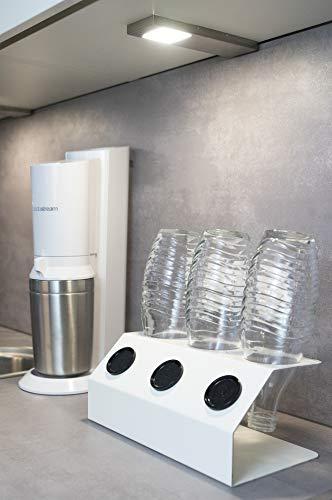 SodaNature™ | 3er Aluminium-Abtropfhalter in weiß z.B. für SodaStream Crystal Flaschen | Design Flaschenhalter für PET- & Glasflaschen | spülmaschinenfest & rostfrei | Made in Germany