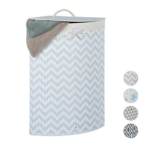 Relaxdays Eckwäschekorb Bambus, faltbare Wäschebox 60 l, Deckel, Zickzack-Muster, Wäschesack, 65,5x49,5x37 cm, weiß-blau
